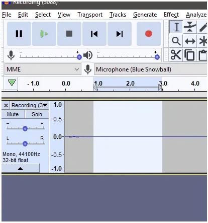 screenshot of using Audacity